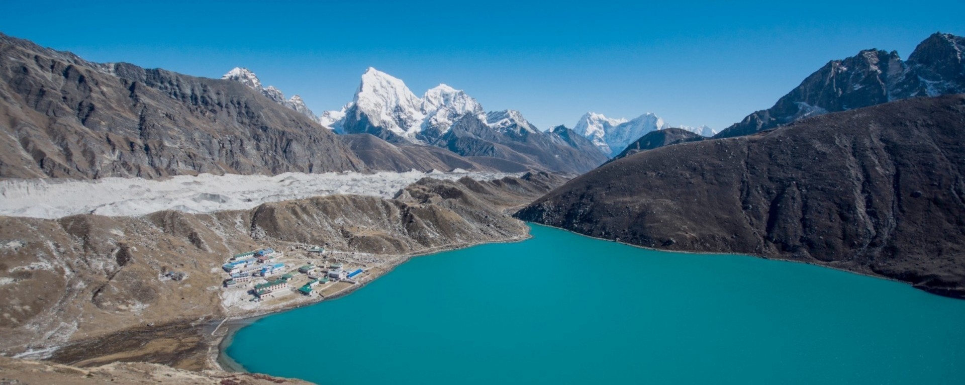 View of Gokyo Lakes, Ngzumpa Glacier