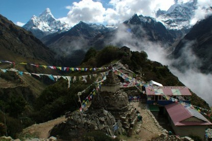 View from Mong-la pass Everest