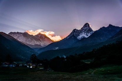 Everest and Amadablam from Tengboche