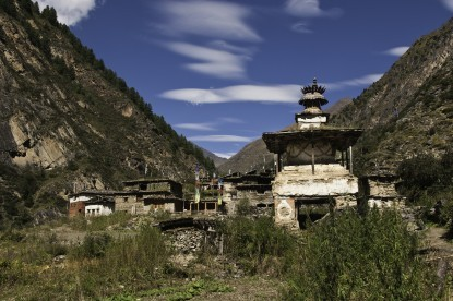 Chorten with Mundu Village