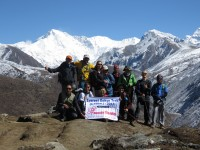 At the top of Gokyo ri (5360m) with Mount Cho oyu (8200m)
